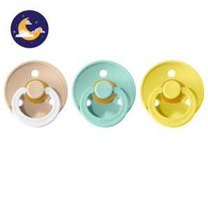 3-pack 0-6M pacifiers vanilla night glow in the dark + mint + pineapple