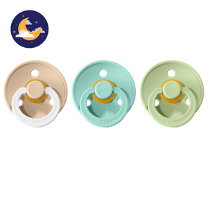 3-pack 0-6M pacifiers vanilla night glow in the dark + mint + pistachio