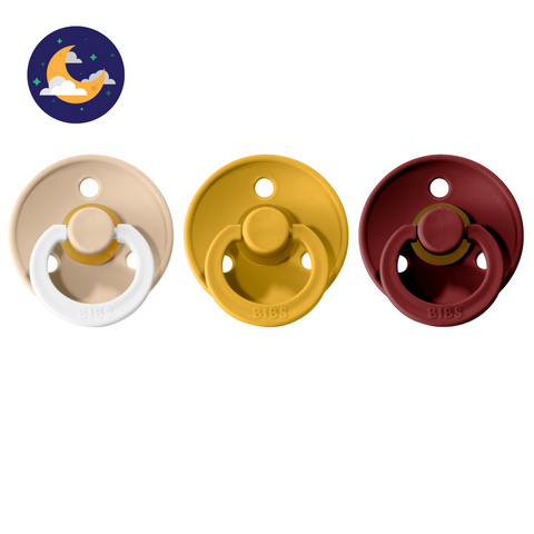 3-pack 0-6M pacifiers vanilla night glow in the dark + mustard + wine