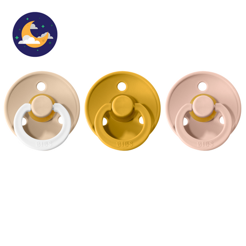 3-pack 0-6M pacifiers vanilla night glow in the dark + mustard + baby pink