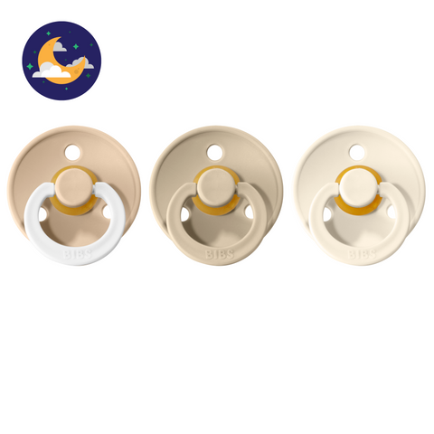3-pack 0-6M pacifiers vanilla night glow in the dark + sand + ivory