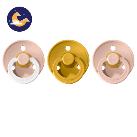 3-pack 6-18M pacifiers blush night glow in the dark + mustard + blush