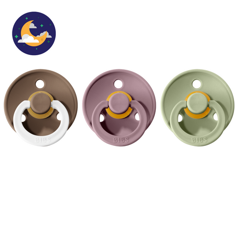 3-pack 0-6M pacifiers dark oak night glow in the dark + heather + sage