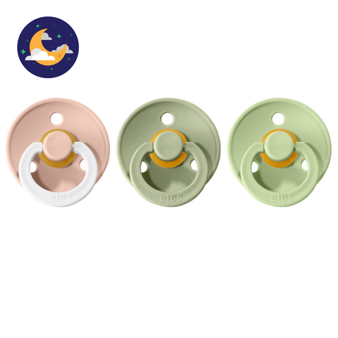 3-pack 0-6M pacifiers blush night glow in the dark + sage + pistachio