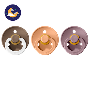 3-pack 0-6M pacifiers dark oak night glow in the dark + peach + heather