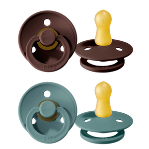 Bibs pacifier 0-6 months 2-pack chestnut + tiffany