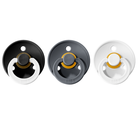 Bibs pacifier 0-6M 3-pack black night + iron + white