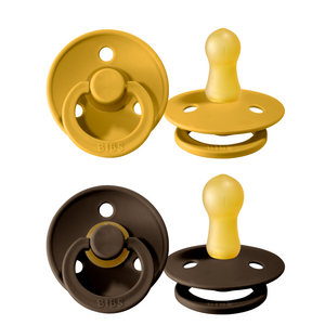 Bibs pacifier 0-6 months 2-pack mustard + chocolate