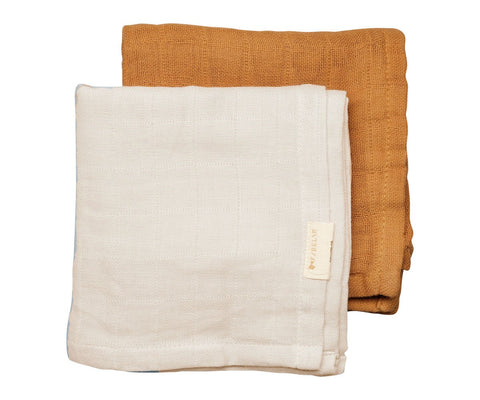 2 Pack - muslin natural/ochre Fabelab