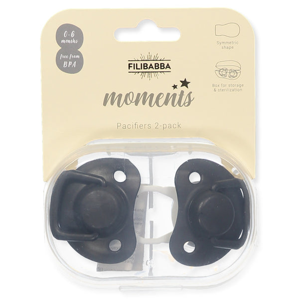 Pacifiers 2-pack black 0-6M Filibabba