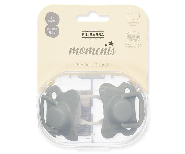 Pacifiers 2-pack dark mint +6M Filibabba