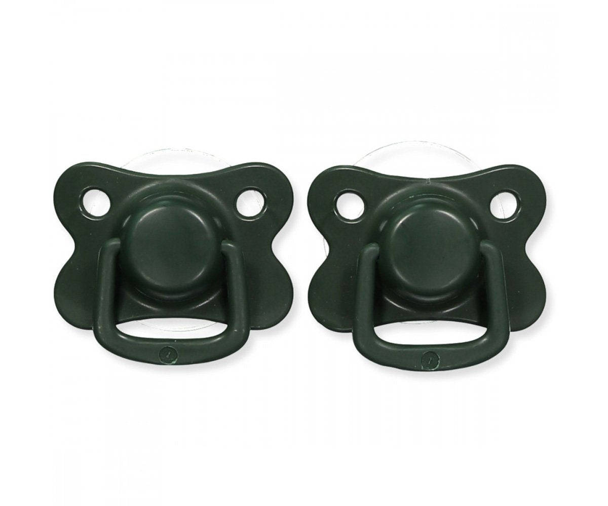 Pacifiers 2-pack dark green +6M Filibabba