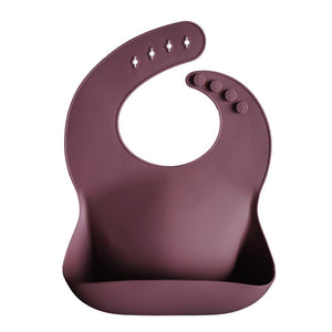 Silicone baby bib dusty rose mushie