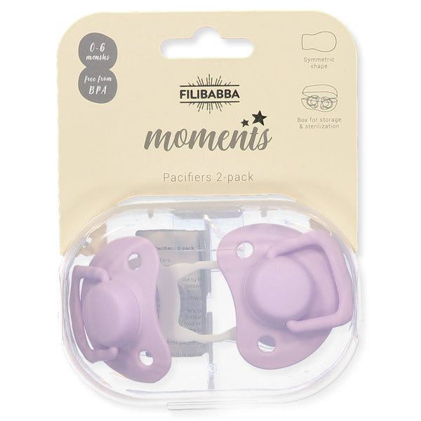 Pacifiers 2-pack light lavender 0-6M Filibabba