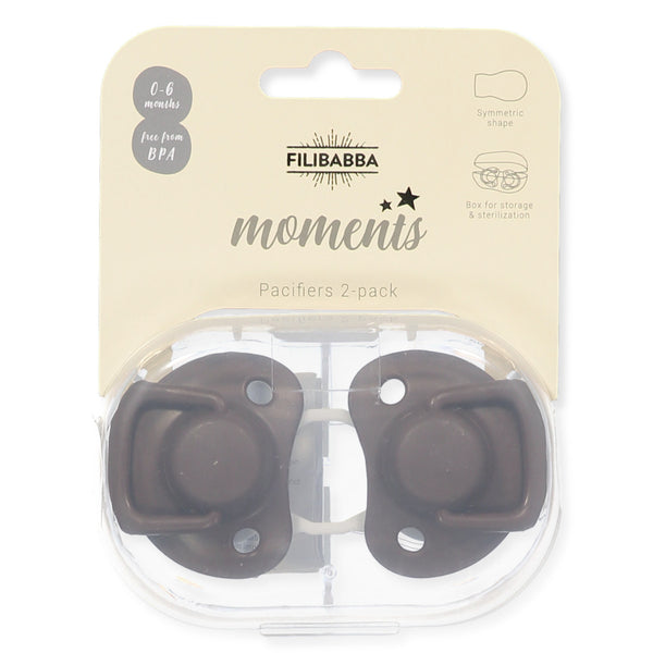 Pacifiers 2-pack chocolate 0-6M Filibabba