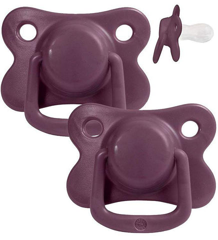 Pacifiers 2-pack plum +6M Filibabba