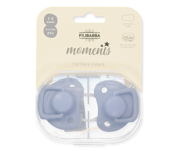 Pacifiers 2-pack powder blue 0-6M Filibabba