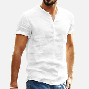 Summer Men Baggy Shirt Cotton Linen Solid, Short Sleeve, V-Neck Retro