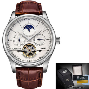 Men's Retro Watch Automatic Mechanical Watch with Tourbillon movement self wind
