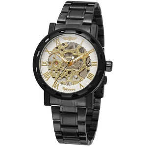 Automatic self-winding Stainless Steel Men's Mechanical Watch, Skeleton Design Shows the Clock Works
