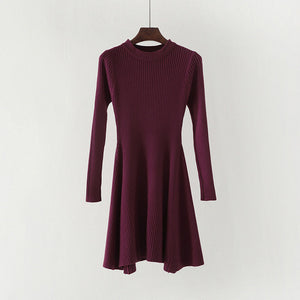 Women's Long Sleeve Sweater Dress Irregular Hem Casual O-neck A Line Short Mini Knitted Dresses
