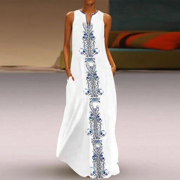 Women's Bohemian Floral Maxi Dress Summer Beach Casual Long Sundress Ethnic Cotton sexy V-Neck Dress