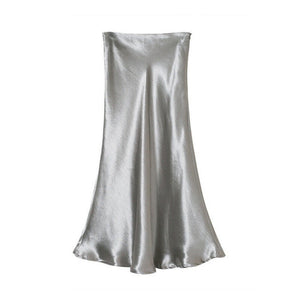 Women's Skirt Glossy Satin Skirt Wet Look Solid Metallic Look High Waist
