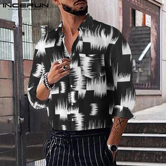 Men's Fashion Print Dress Shirt, Long Sleeve Casual Lapel Collar
