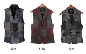 Spring Retro Patch Plaid Woolen Casual Vest for Men European Style