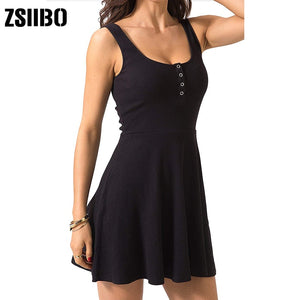 Sexy Black Summer Bandage Bodycon Mini Tank Dress High Waist Slim Solid Fit Flare Skater