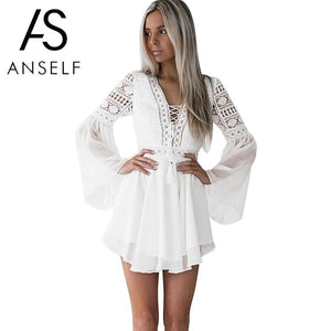 Hollow Out Sexy White Mini Chiffon Dress Criss Cross Semi-sheer Plunge V-Neck Long Sleeve Crochet Lace