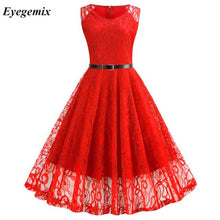 Load image into Gallery viewer, Sexy Vintage Floral Lace Tunic Dress Sleeveless V-Neck Retro 50s Summer Big Swing Dress