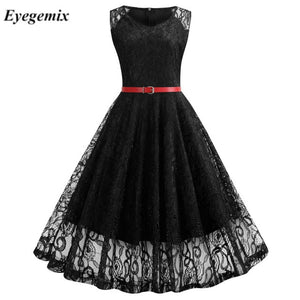 Vintage Floral Lace Tunic Dress Sleeveless V-Neck Elegant Party Sexy Dresses Retro 50s Summer Big Swing Dress