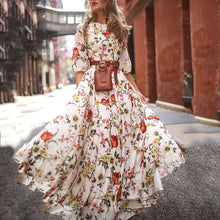 Load image into Gallery viewer, Women Long Maxi Dresses Bohemia O-neck Three Quarter Sleeve Floral Print Ethnic Summer Beach Stylish