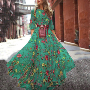 Women Long Maxi Dresses Bohemia O-neck Three Quarter Sleeve Floral Print Ethnic Summer Beach Stylish