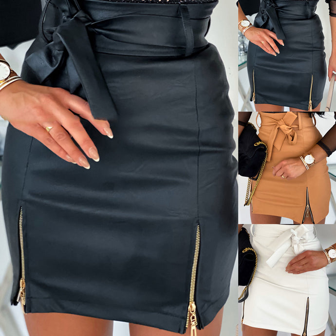 New arrival 2020 Sexy High waist Bicast leather Women's Skirt, Sashes, Zipper, Pencil Mini skirt
