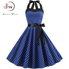 Load image into Gallery viewer, Sexy Halter Party Dress Retro Polka Dot Hepburn Vintage 50s 60s Pin Up Rockabilly Dresses Plus Size Elegant Midi Dress