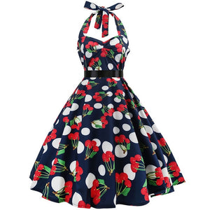 Sexy Halter Party Dress Retro Polka Dot Hepburn Vintage 50s 60s Pin Up Rockabilly Dresses Plus Size Elegant Midi Dress