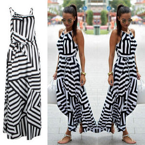 Summer Maxi Long Dress New Fashion Sexy Boho Striped Sleeveless Beach Style Sundress