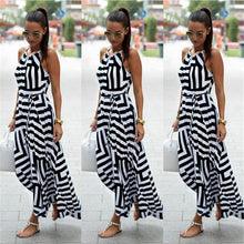 Load image into Gallery viewer, Summer Maxi Long Dress New Fashion Sexy Boho Striped Sleeveless Beach Style Sundress