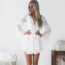Load image into Gallery viewer, Hollow Out Sexy White Mini Chiffon Dress Criss Cross Semi-sheer Plunge V-Neck Long Sleeve Crochet Lace
