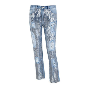 Sequin Ripped Jeans Denim-Bottoms-Shop Alluring
