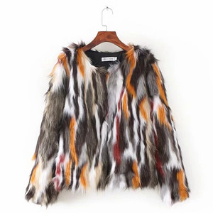 Contrast Stitching Artificial fur grass Coat Jacket