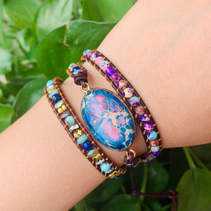 Imperial Stone Multi-layer Woven Leather Bracelet