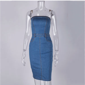 Strapless Denim Dress Elegant Bodycon - Online Fashion Store -Shop Alluring