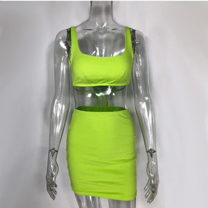 Neon Two Piece Set Sexy Crop Top And Skirt - Online Fashion Store -Shop Alluring