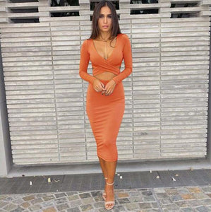 Sexy Long Sleeve Cut-Out Bandage Dress-Dresses-Shop Alluring