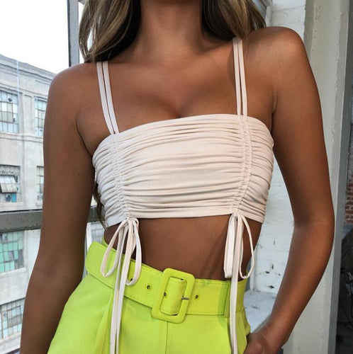 Lace Up Off Shoulder Ruched Backless Crop Top - Online Fashion Store -Shop Alluring