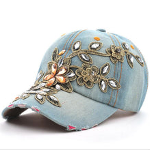 Load image into Gallery viewer, Denim Diamond Embroidery Flower Snapback Hat-Hats-Shop Alluring