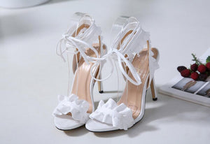 Ruffle Lace Up Summer Shoes - Online Fashion Store -Shop Alluring